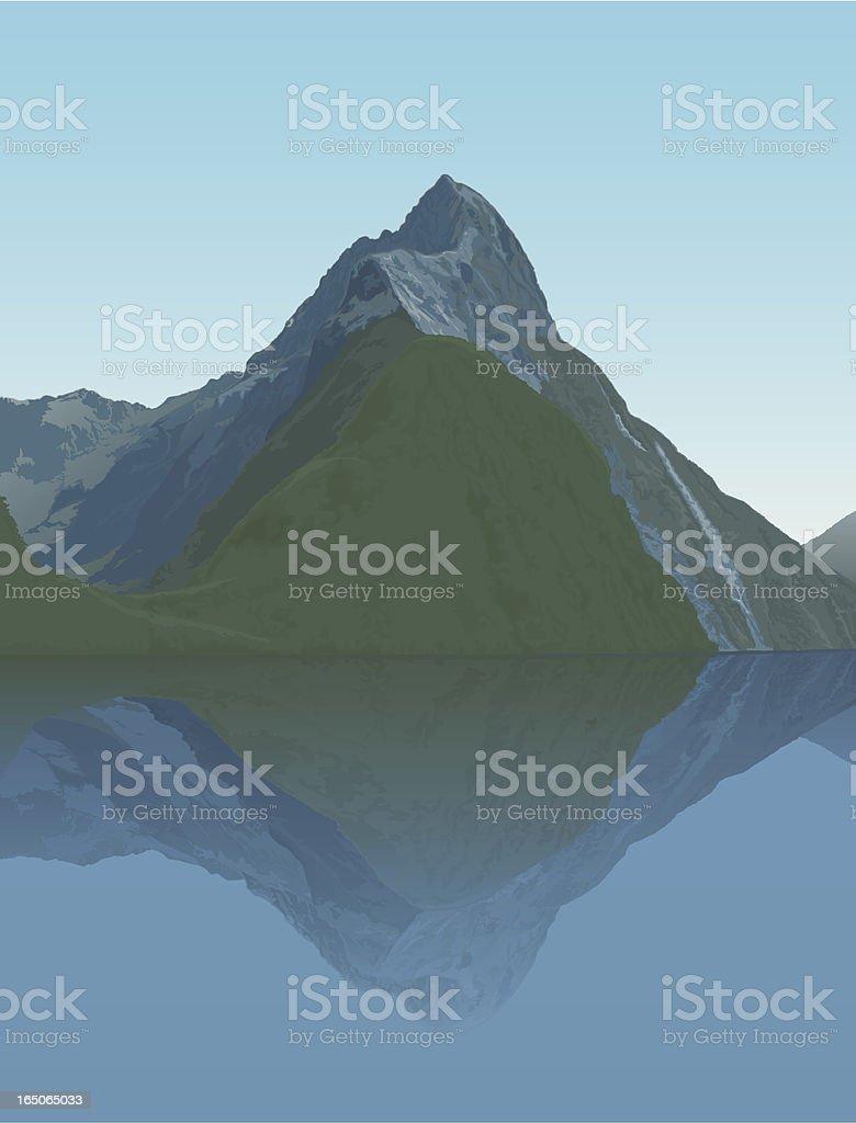 Mitre Peak royalty-free stock vector art