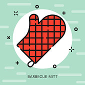 BBQ Mitt Open Outline Barbecue Icon