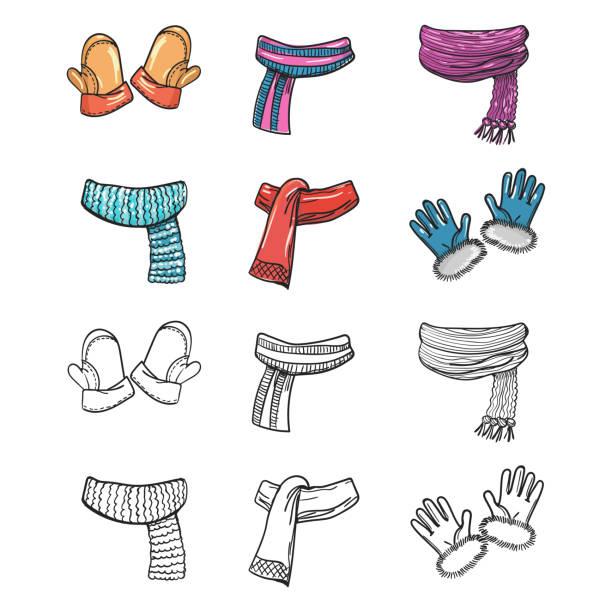 handschuh, handschuhe, schals, isoliert auf weiss - schals stock-grafiken, -clipart, -cartoons und -symbole