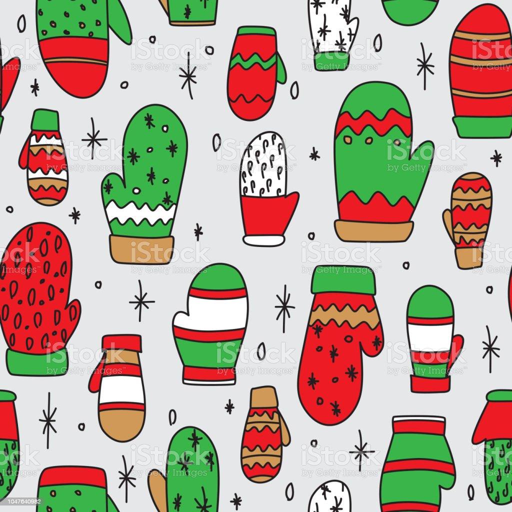 Ilustración de Manoplas De Dibujo Patrón Sin Costuras En Rojo Verde ...