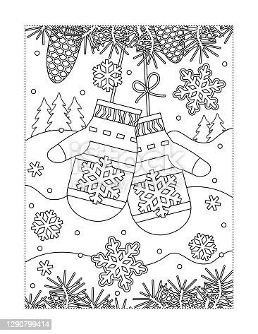 istock Mittens lost in winter forest coloring page 1290799414