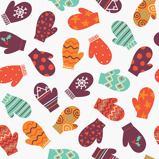 Mittens, vector bright winter seamless pattern Mittens, vector winter seamless pattern with colorful gloves mitten stock illustrations