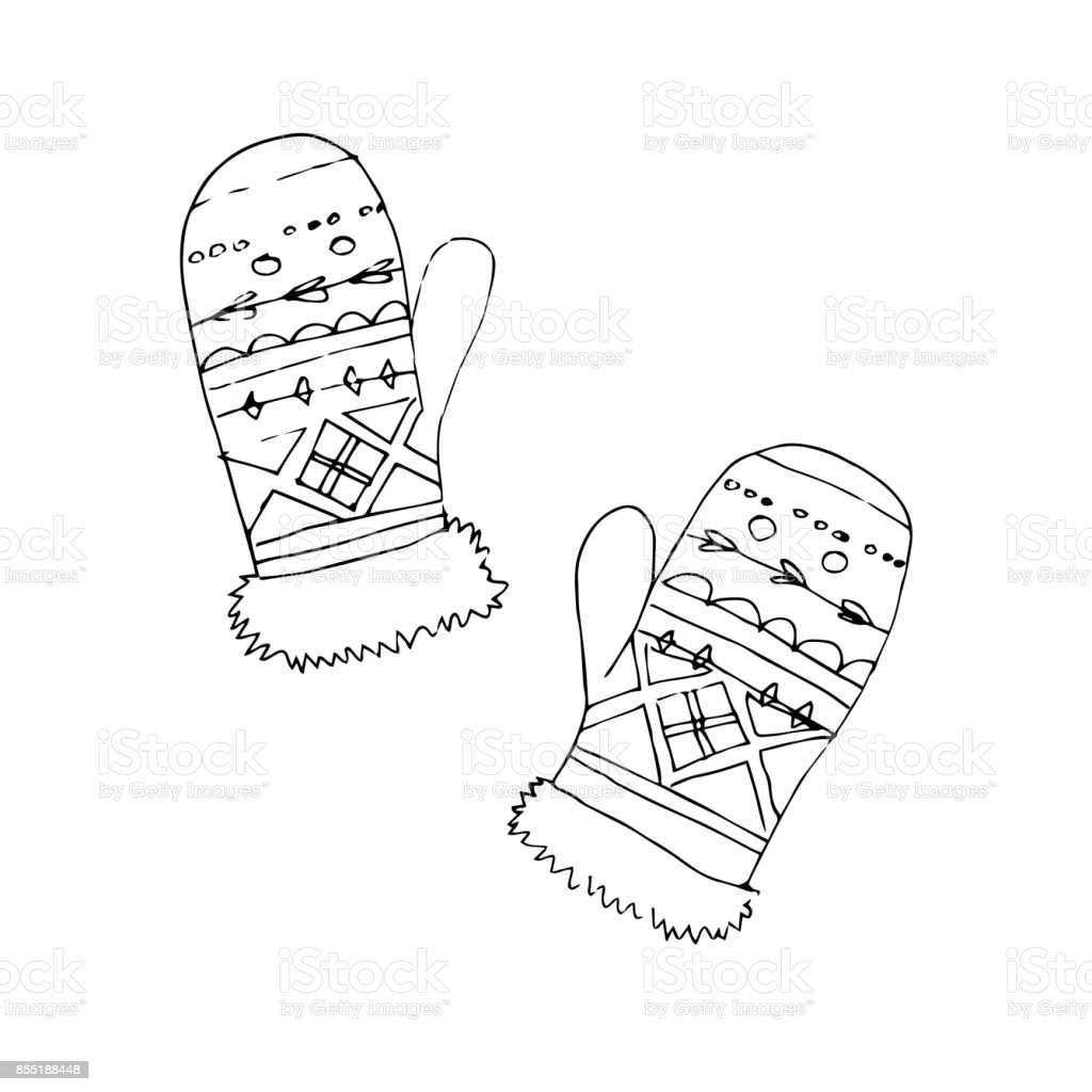 Mittens vector sketch icon isolated on white background. Hand drawn mittens icon. Mittens sketch icon for infographic, website or app vector art illustration
