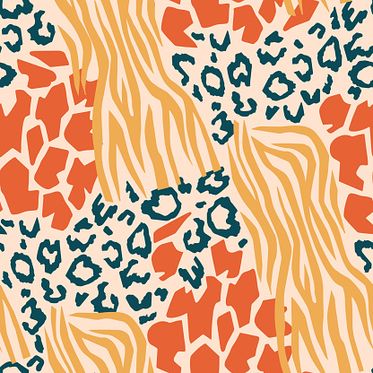 Abstract repeat pattern with different geometric shapes. Mixed stylish animal skin tiger, giraffe, leopard spots and zebra stripes. Exotic decorative jungle ornament made of wild animal fur prints.