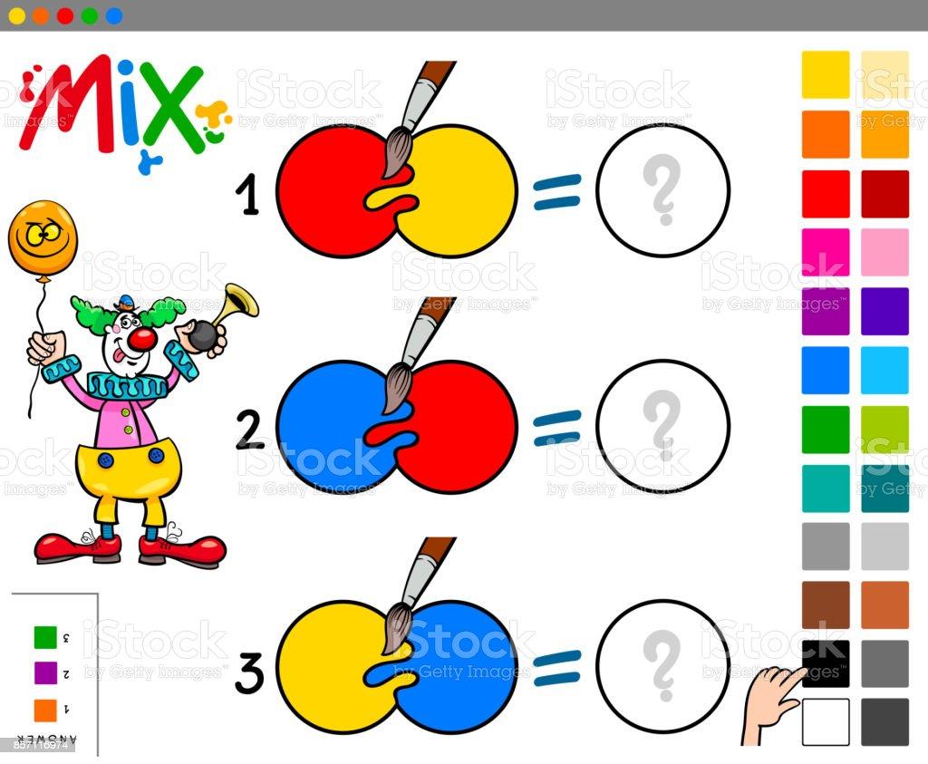 Mischen Sie Farben Lernspiel Mit Clown Stock Vektor Art Und Mehr