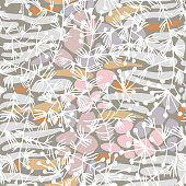 Mix floral geometric seamless pattern. Abstract background with botanical plants, striped oval shapes. Hand-drawn colorful paving stone forms. Smooth Irregular elements blocks and flowers silhouettes