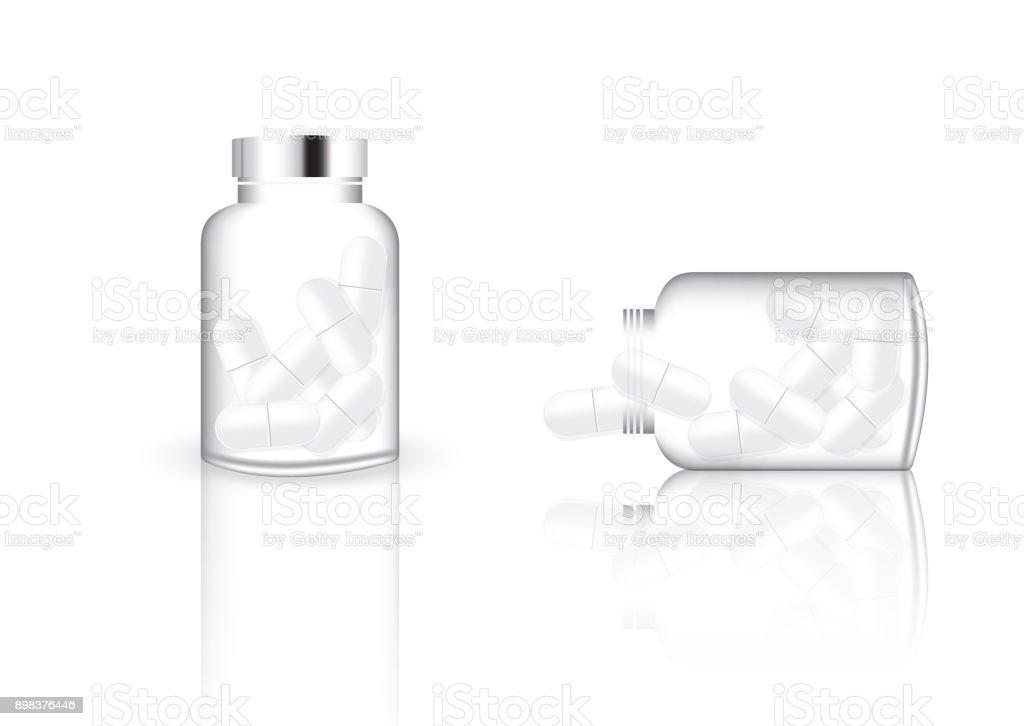 ミックス薬錠剤とビタミン ガラス瓶と瓶の背景イラスト こはくの