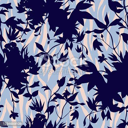 Vector botanical nature seamless pattern. Mix of silhouettes of garden flowers and animal skin zebra stripes. Simple nature floral and wavy lines background.