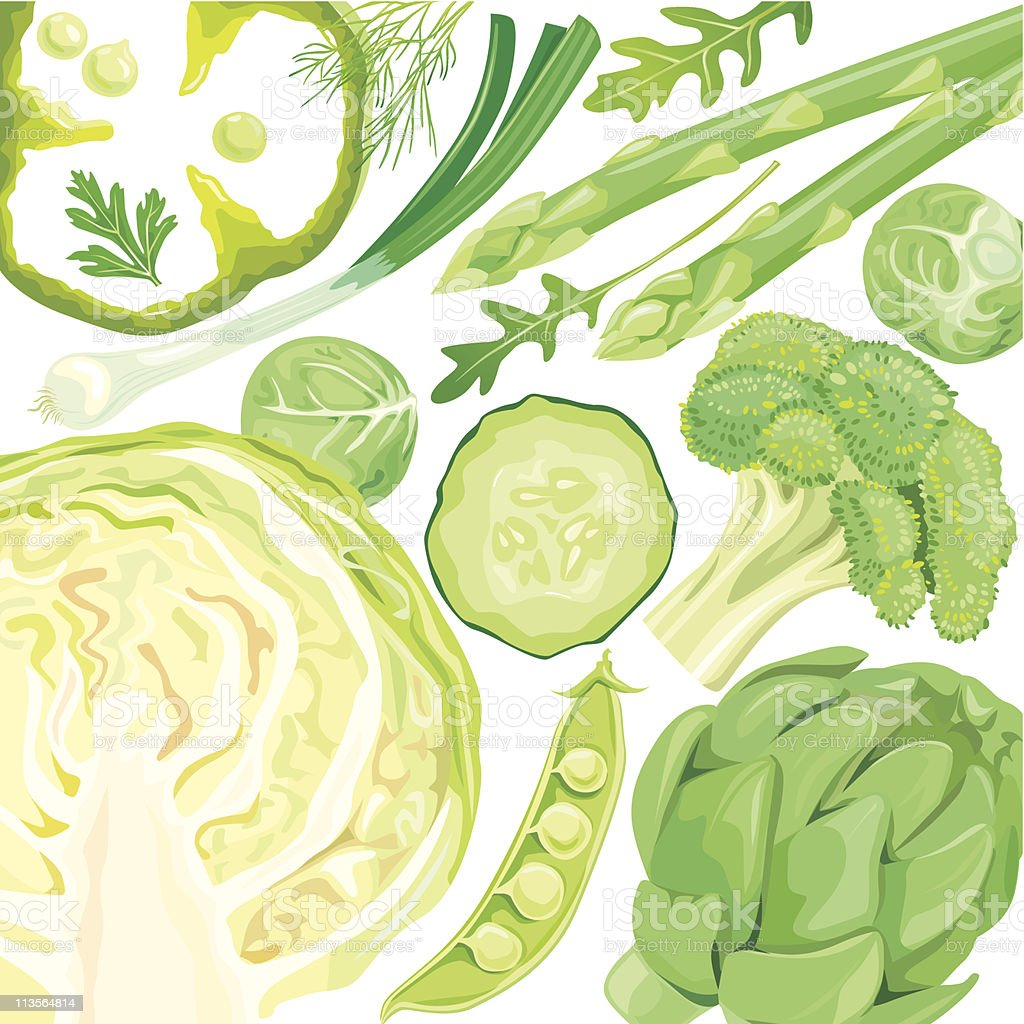 Mix of green vegetables royalty-free stock vector art