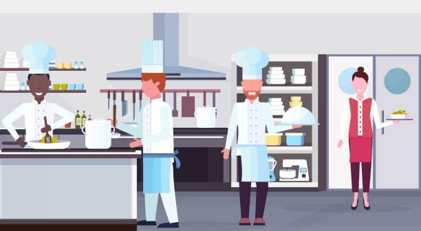 mischung rennköche kochen lebensmittel kulinarischen mitarbeiter teamwork konzept moderne kommerzielle restaurant küche innenraum horizontale wohnung - gewerbliche küche stock-grafiken, -clipart, -cartoons und -symbole