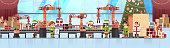 mix race elves santa claus helper hold checklist teamwork conveyor system industry new year merry christmas concept flat horizontal banner