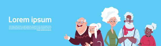 mix race group of senior people modern grandfather and grandmother - old man smile cartoon stock illustrations, clip art, cartoons, & icons