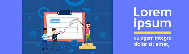 bildbanksillustrationer, clip art samt tecknat material och ikoner med blanda ras man flicka karaktär punkt urklipp finansiella diagram mallen kreativitet för design och animation på blå bakgrund full längd platt kopia utrymme - graphs animation