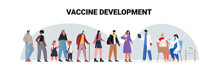 mix race patients in masks waiting for covid-19 vaccine coronavirus prevention medical immunization campaign concept full length horizontal vector illustration