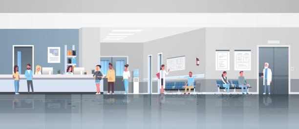 illustrations, cliparts, dessins animés et icônes de patients de course de mélange debout ligne file d'attente à l'hôpital réception réception salle d'attente médecins consultation santé concept médical clinique intérieur pleine longueur horizontale bannière plat - entrée