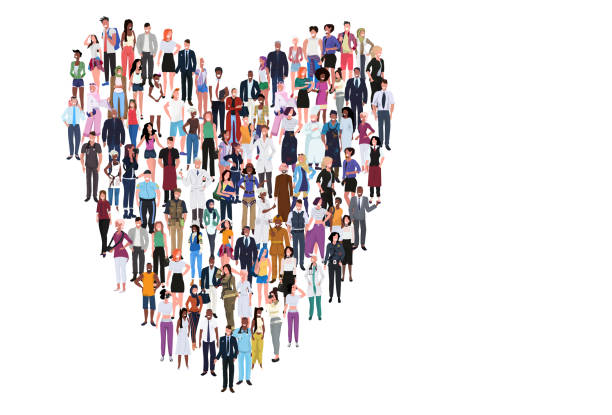 mix race people group different occupation standing together in heart shape romantic love concept male female workers full length horizontal banner flat white background mix race people group different occupation standing together in heart shape romantic love concept male female workers full length horizontal banner flat white background vector illustration african american valentine stock illustrations