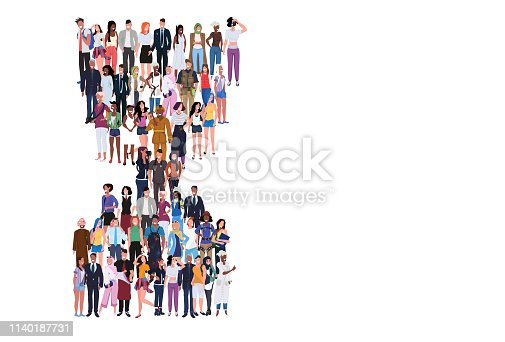 mix race people group different occupation standing together in hourglass shape deadline time management concept male female workers full length horizontal flat white background vector illustration