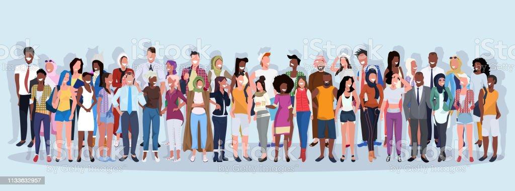 mix raça pessoas grupo ocupação diferente de pé junto sobre azul fundo masculino feminino trabalhadores comprimento total banner horizontal plana - Vetor de Adulto royalty-free