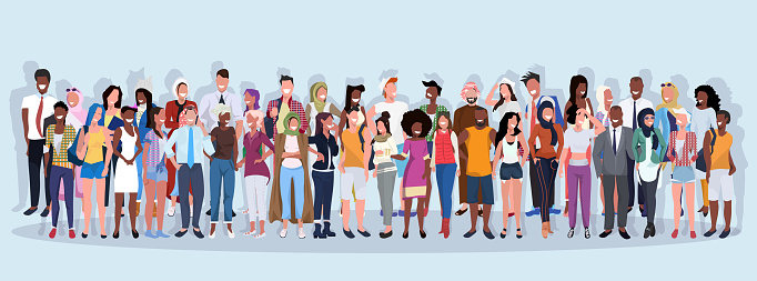 mix race people group different occupation standing together over blue background male female workers full length horizontal banner flat