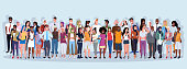 mix race people group different occupation standing together over blue background male female workers full length horizontal banner flat vector illustration