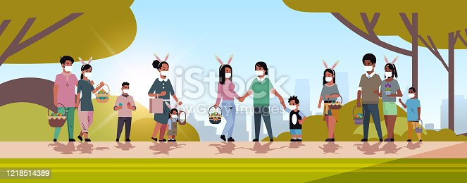 mix race men women holding baskets with eggs people wearing mask to prevent coronavirus celebrating happy easter holiday cityscape background horizontal full length vector illustration