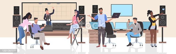 mix race people performing in recording studio men women using digital gadgets social network communication full length horizontal vector illustration
