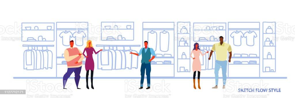 0e9ac3b91 mezclar gente de raza comercial a clientes y personal permanente en gran  manera tienda supermercado ropa