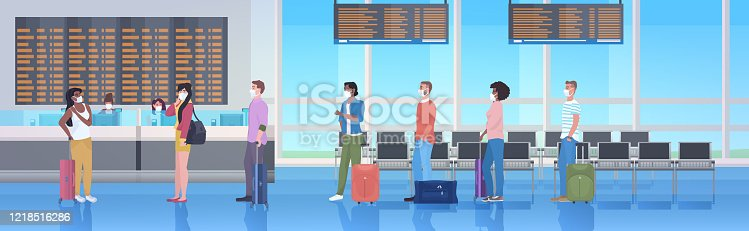 mix race travelers with baggage wearing masks to prevent coronavirus pandemic airport terminal interior