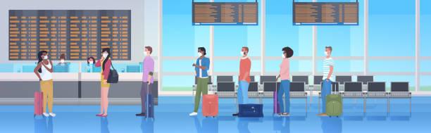 ilustrações de stock, clip art, desenhos animados e ícones de mix race travelers with baggage wearing masks to prevent coronavirus pandemic airport terminal interior - covid flight