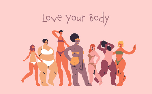 mix race women of different height figure type and size standing together love your body concept