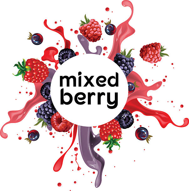 stockillustraties, clipart, cartoons en iconen met mixed berry punch drink - bessen