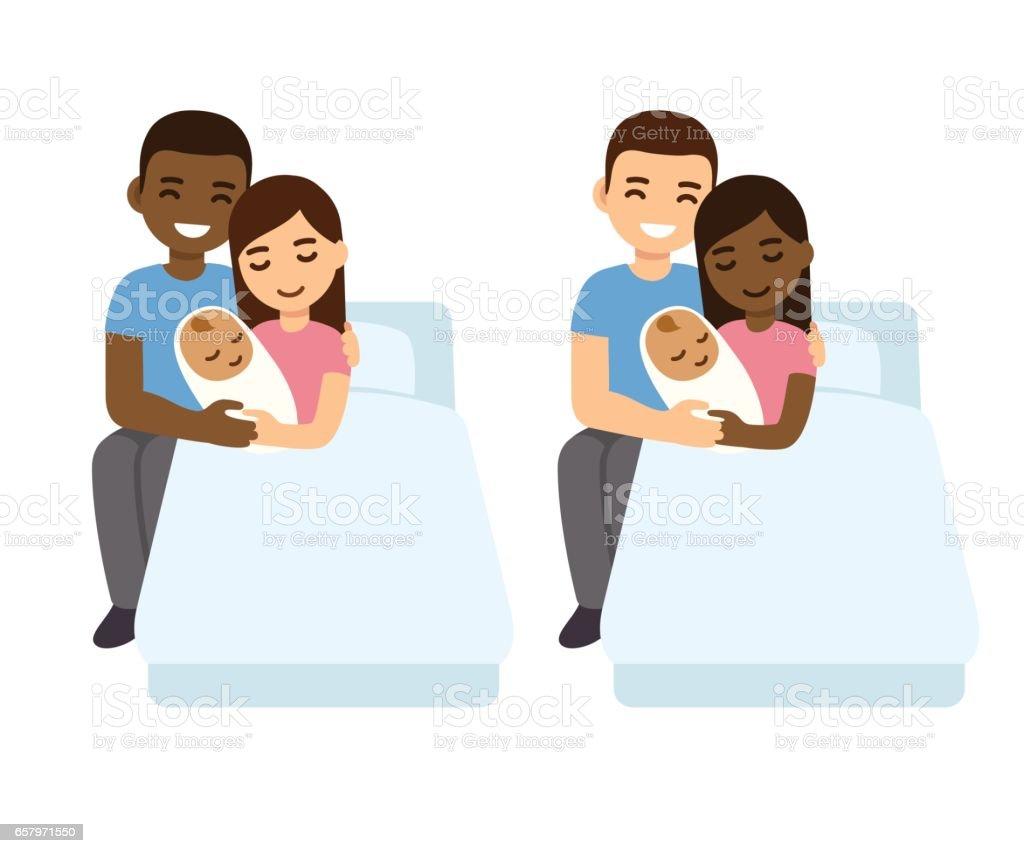 Mixed couples baby birth set vector art illustration