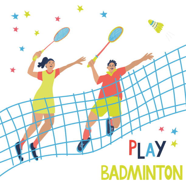 mixed doubles badminton game poster. - badminton smash stock illustrations