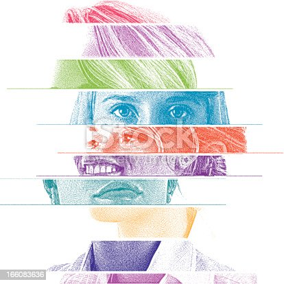 Illustration with multiple views of woman's face.