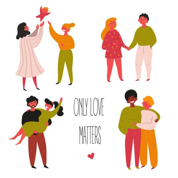 illustrazioni stock, clip art, cartoni animati e icone di tendenza di mixed ethnicity gay and straight couple valentine - coppia gay