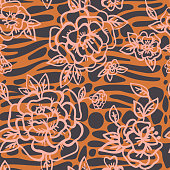 Floral seamless pattern made of cartoon doodle cute roses and leaves on mixed animal skin background zebra, giraffe safari Africa print. Smooth paving stone oval forms. Vintage flat outline style.