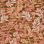 Mix floral geometric seamless pattern. Abstract background with botanical plants, twigs, branches leaves on striped oval shapes. paving stone forms. Smooth elements blocks and floral silhouettes.