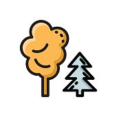 Mixed forest, park colorful thin line flat icon