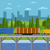Side view of mixed freight train on bridge within urban landscape vector illustration. Cityscape background. Logistics railway transport design concept. Cargo train on railroad.