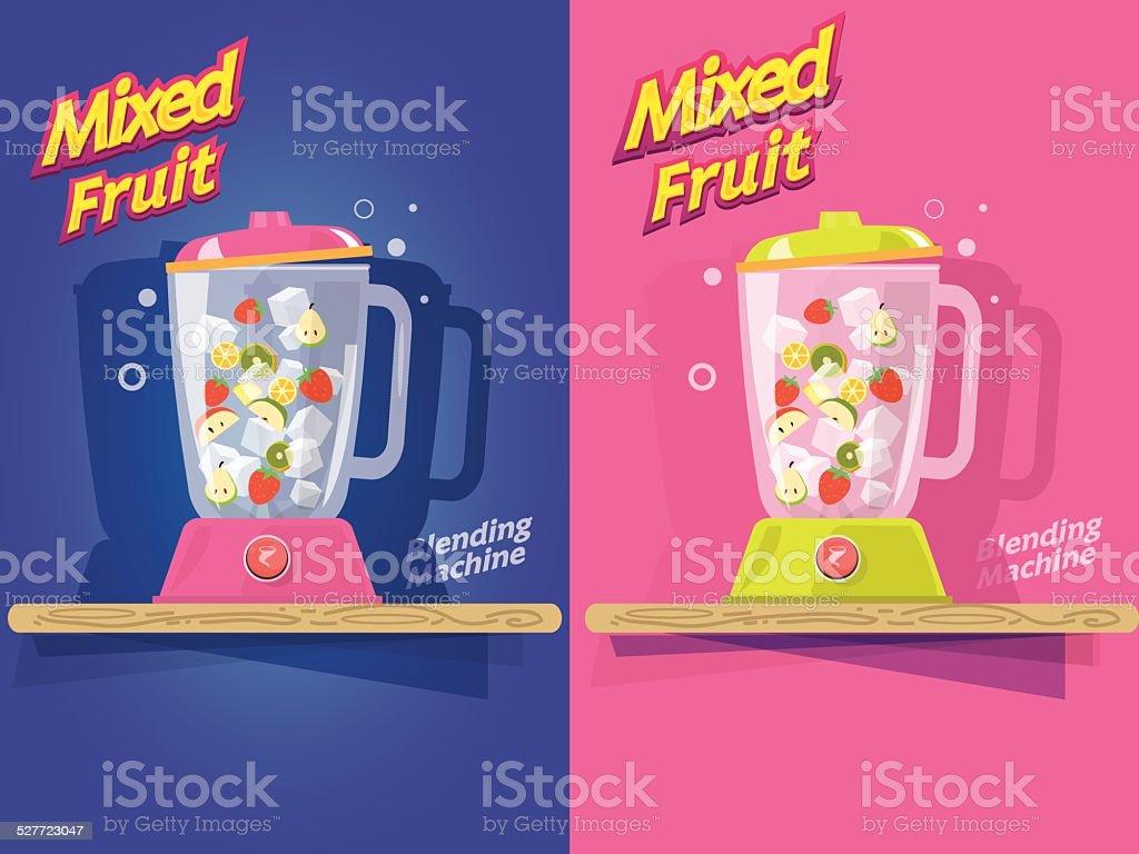 mixed fruit. blending machine - vector illustration vector art illustration