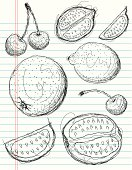 Sketchy, hand drawn cherries, oranges, and limes on notebook paper. The artwork and paper are on separate labeled layers.