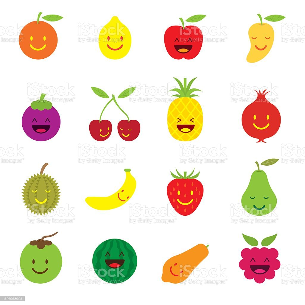 Mixed Fruits Character Cartoon Stock Vector Art More Images Of