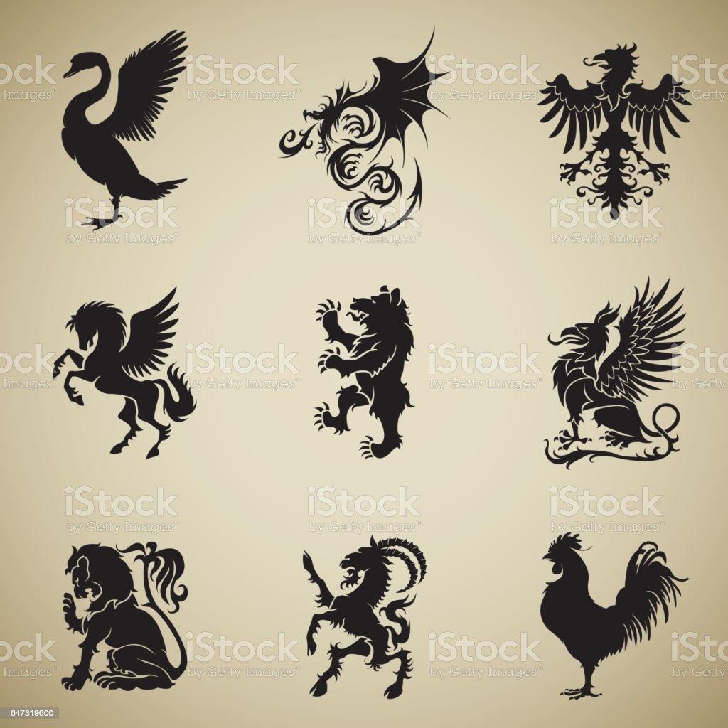 Mixed heraldry collection vector art illustration