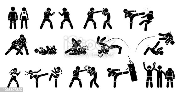 Pictogram depicts MMA fighters with fighting and combat techniques. These MMA male and female poses are punch, kick, block grappling, chocking, throwing, and training.