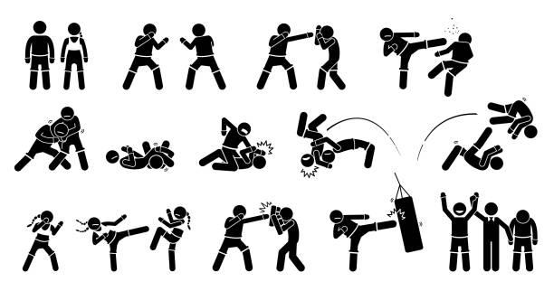 MMA mixed martial arts actions. vector art illustration