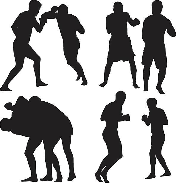 stockillustraties, clipart, cartoons en iconen met mixed martial arts boxer boxing - mma