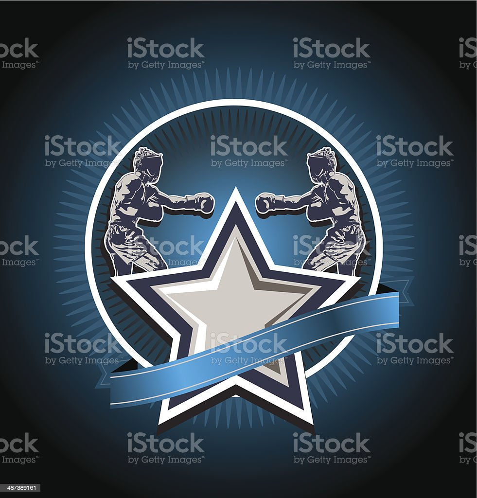 mixed martial arts icon or emblem vector art illustration