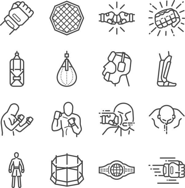 stockillustraties, clipart, cartoons en iconen met mma: mixed martial arts pictogramserie - mma