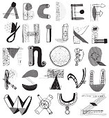 Alphabet letters made with different patterns and shapes and lines. Mixed media alphabet resembling recycled materials