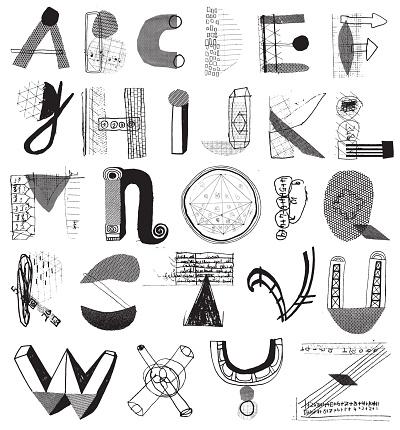 Mixed media alphabet letters